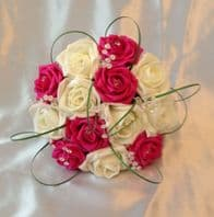 WEDDING FLOWERS ARTIFICIAL IVORY/HOT PINK FOAM ROSE BRIDESMAID WEDDING BOUQUET