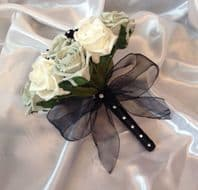 WEDDING FLOWERS ARTIFICIAL IVORY SILVER BLACK ROSE WEDDING BOUQUET BRIDESMAID