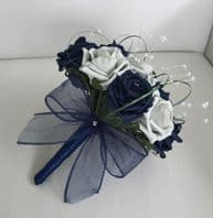 WEDDING FLOWERS NAVY BLUE SILVER FOAM ROSE BRIDESMAID BOUQUET ARTIFICIAL ROSES