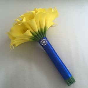 WEDDING FLOWERS YELLOW REAL TOUCH CALLA LILY BRIDESMAID BOUQUET BLUE ARTIFICIAL