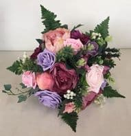 WEDDING MIXED FLOWER PINK LILAC BRIDE BOUQUET VINTAGE COUNTRY ROSE PEONY FOLIAGE