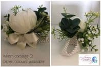Wrist corsage 2 - artificial peony and foliage on a pearl bracelet-many colours available.