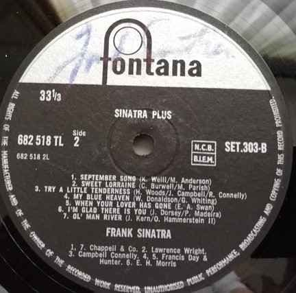 Frank Sinatra SIGNED LP With Certificate of Authenticity