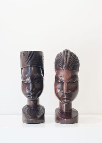 Couple Bust - African Ebony Wood Carving