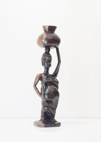 Village Woman - African Ebony Wood Carving