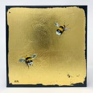 Alison McIlkenny 'Bumblbees' Original Oil on Gold Foil