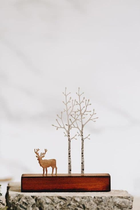 David Mayne Sculptor   Silver Birch with Stag   Miniature Steel & Wood Sculpture