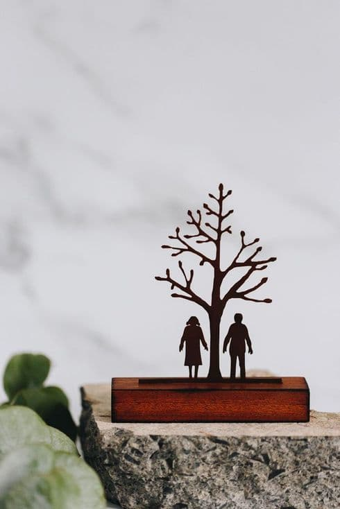 David Mayne Sculptor | Couple Together by Tree | Miniature Steel & Wood Sculpture