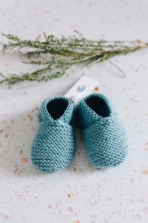 Debbie McCann (Wee Yarn Designs) - Cashmere Knitted Baby Booties in Duckegg Blue