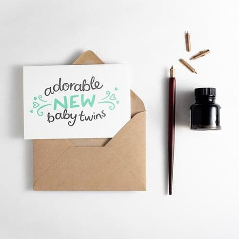 Hunter Paper Co   New Baby Twins Card   Letterpress New Baby Card