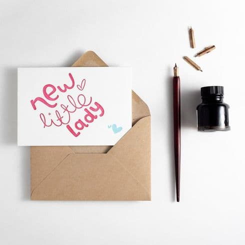 Hunter Paper Co | New Little Lady Baby Card | Letterpress New Baby Card