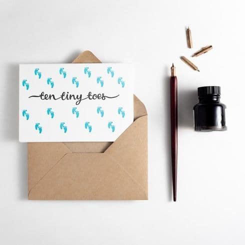 Hunter Paper Co   Tiny Toes New Baby Card   Letterpress New Baby Card