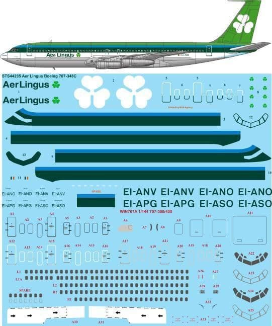 26 Decals 1/144 Aer Lingus 1970s Livery Boeing 707-348C # STS44235