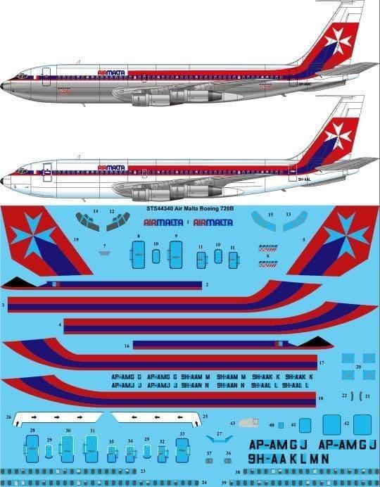 26 Decals 1/144 Air Malta Boeing 720B # STS44340