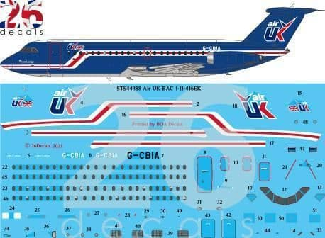 26 Decals 1/144 Air UK BAC 1-11-400 for Eastern Express # STS44388
