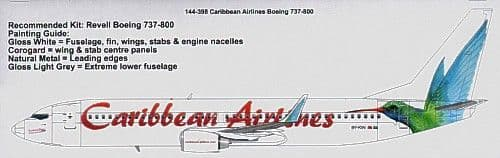 26 Decals 1/144 Boeing 737-800 CARIBBEAN Airlines # TS144398