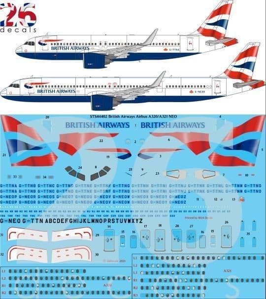 26 Decals 1/144 British Airways Airbus A320-251N / Airbus A321-251NX # STS44402