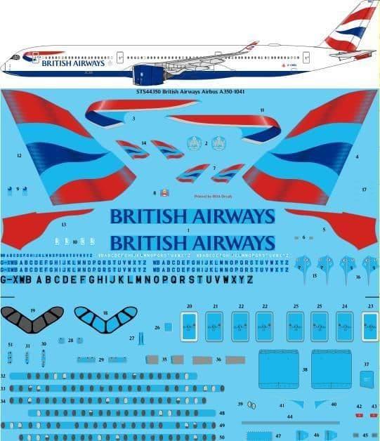 26 Decals 1/144 British Airways Airbus A350-1041 # STS44350