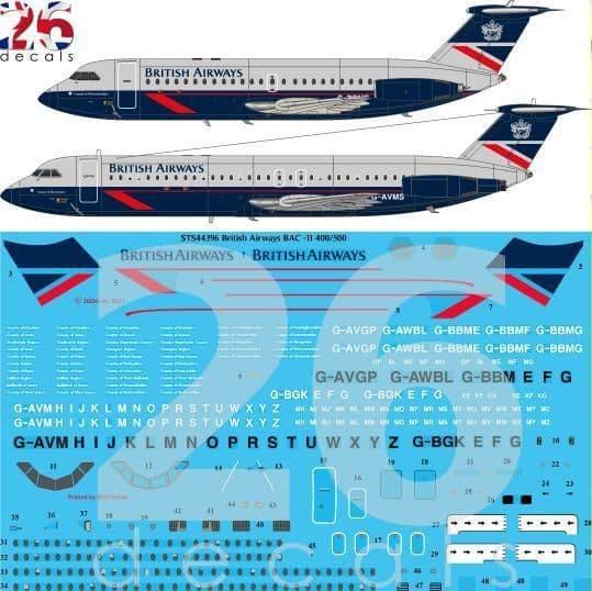 26 Decals 1/144 British Airways Landor BAC 1-11s # STS44396