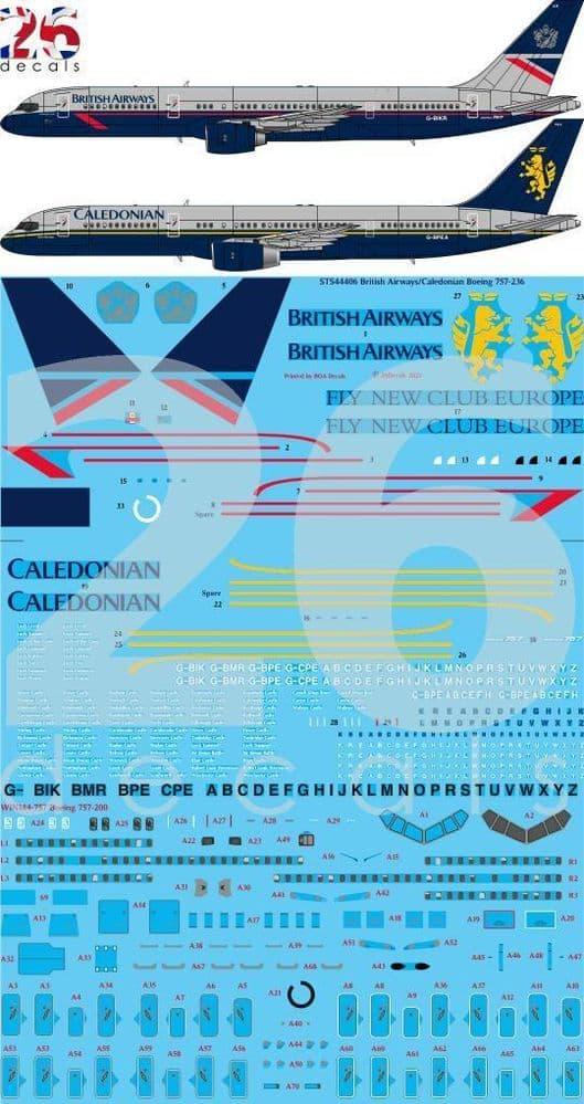 26 Decals 1/144 British Airways Landor / Caledonian Boeing 757-236 # STS44406