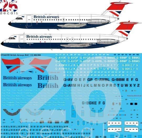 26 Decals 1/144 British Airways Negus & Negus BAC 1-11s # STS44395