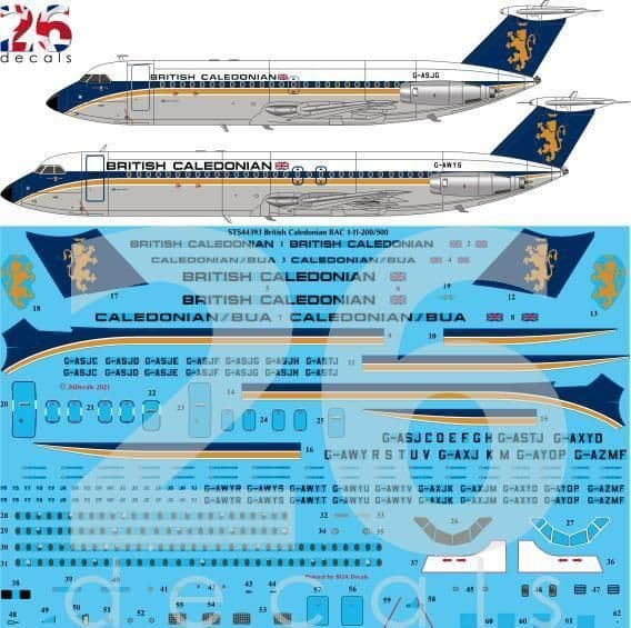 26 Decals 1/144 British Caledonian BAC 1-11-200/500 for Eastern Express # STS44393