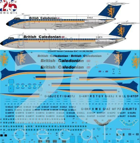 26 Decals 1/144 British Caledonian Final BAC 1-11 # STS44397