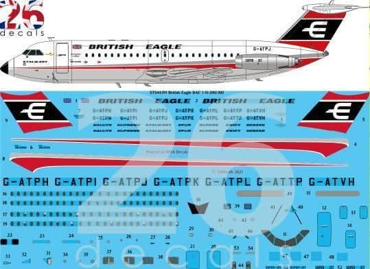 26 Decals 1/144 British Eagle BAC 1-11-200, 300, 400 for Eastern Express # STS44391