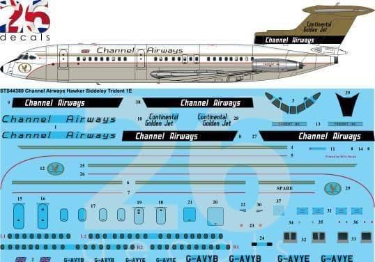 26 Decals 1/144 Channel Airways Hawker Siddeley Trident 1E # STS44380