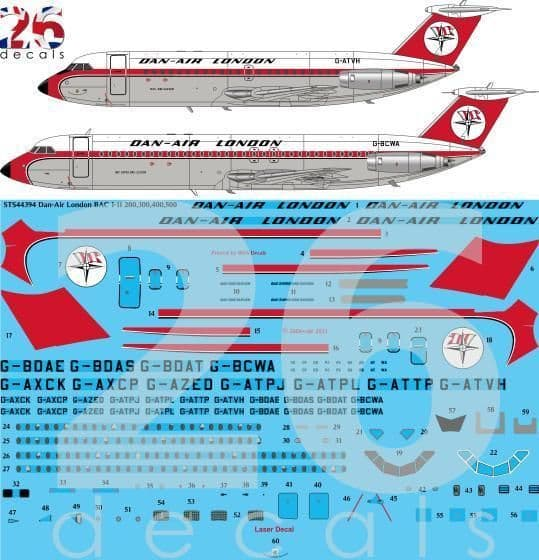 26 Decals 1/144 Dan-Air London BAC 1-11-200, 300, 400, 500 for Eastern Express # STS44394