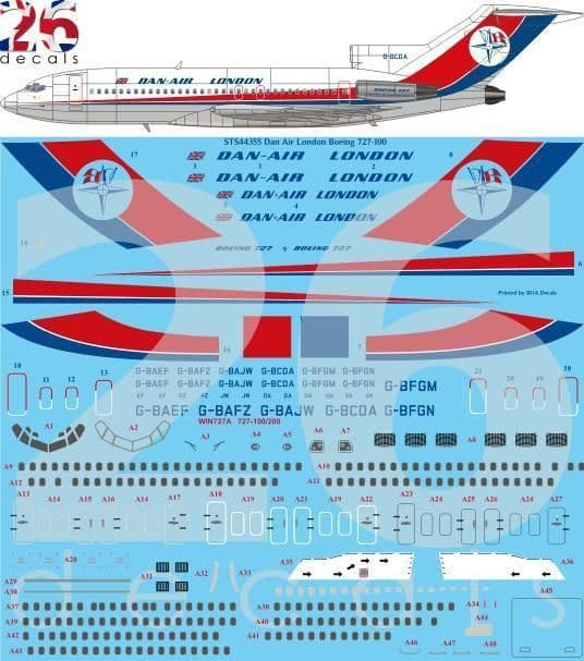 26 Decals 1/144 Dan Air London Late Boeing 727-100 # STS44355