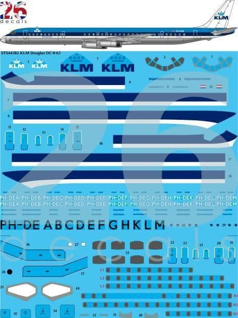 26 Decals 1/144 KLM 1970s Blue Top Douglas DC-8-63 # STS44382