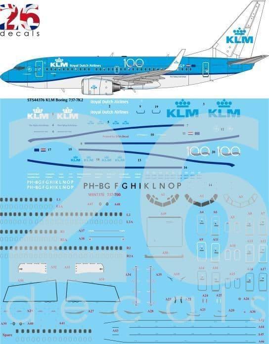 26 Decals 1/144 KLM Boeing 737-7K2 # STS44376