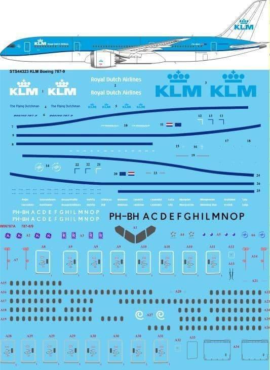 26 Decals 1/144 KLM Boeing 787-9 # STS44323