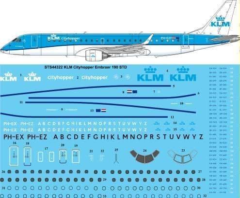 26 Decals 1/144 KLM Cityhopper Embraer 190-100STD # STS44322