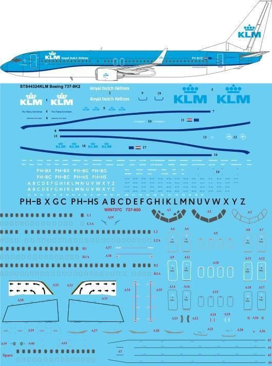 26 Decals 1/144 KLM New Livery Boeing 737-8K2 # STS44324