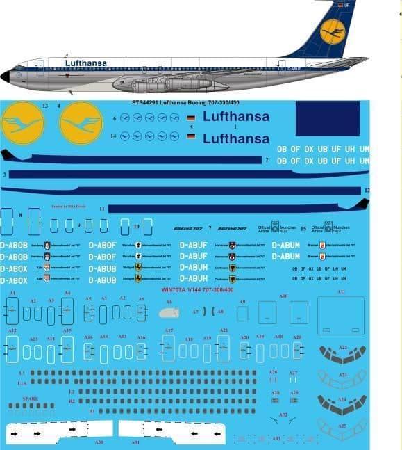 26 Decals 1/144 Lufthansa Boeing 707-330B/C & 430 # STS44291
