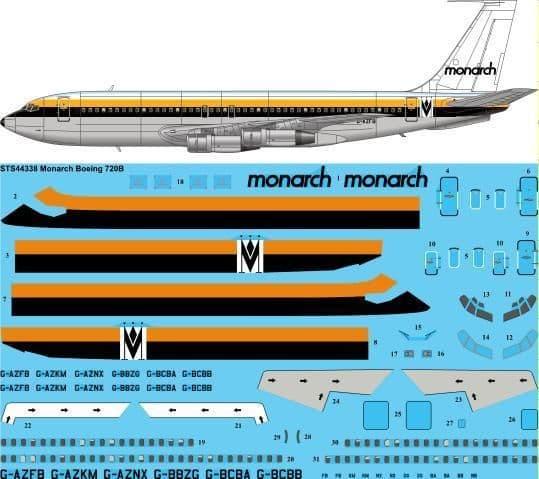 26 Decals 1/144 Monarch Boeing 720B # STS44338