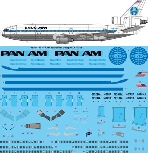26 Decals 1/144 PAN AM McDonnell Douglas DC-10-30 # STS44337