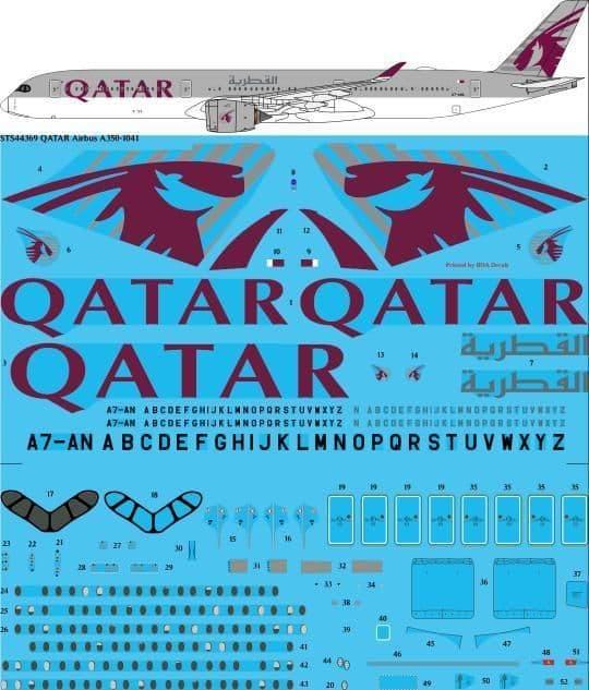 26 Decals 1/144 QATAR Airways Airbus A350-1041 # STS44369