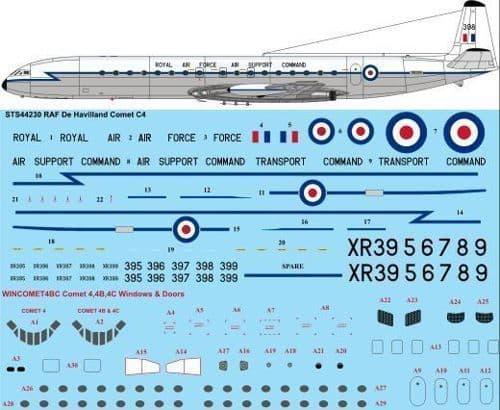 26 Decals 1/144 RAF de Havilland Comet C4 # STS44230