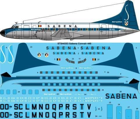26 Decals 1/144 Sabena Convair 440 # STS44353