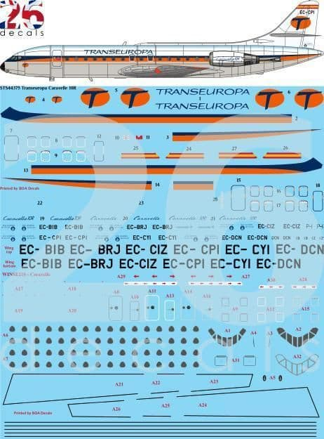 26 Decals 1/144 Transeuropa Caravelle 10R # STS44375