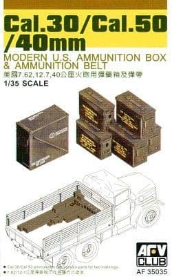 AFV Club 1/35 0.30 Cal, 0.50 Cal, 40mm Modern US Ammunition Box # AF35035