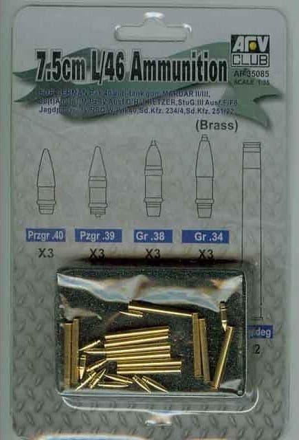 AFV Club 1/35 German 7.5cm L/46 Brass Ammunition # 35085