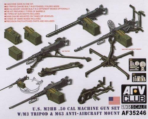 AFV Club 1/35 M2HB .50 Cal Gun Set with M3 Tripod & M63 AA Mount # 35246