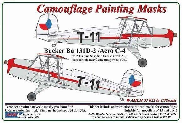 AML 1/32 Bucker Bu-131D-2/Aero C-4 Camouflage Painting Masks # M3322