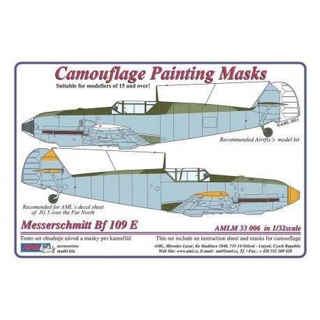 """AML 1/32 Messerschmitt Bf-109E-3/4/7 """"Late"""" Camouflage Paint Mask # M3306"""