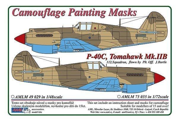 AML 1/48 Curtiss P-40C, Tomahawk Mk.IIB 112. Squadron RAF Camouflage Paint Masks # M4929