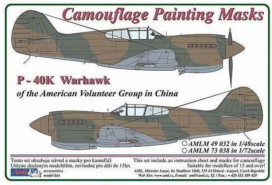 AML 1/48 Curtiss P-40K Warhawk of the American Volunteer Group in China Camouflage Paint Masks # M49
